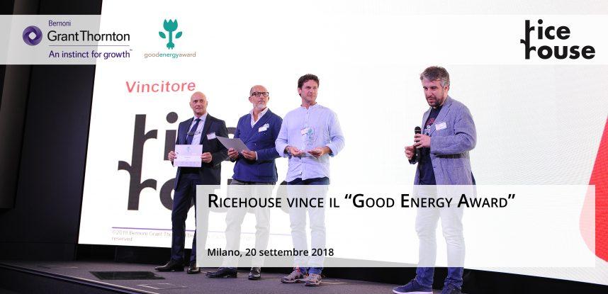 """RICEHOUSE VINCE LA NONA EDIZIONE DEL """"GOOD ENERGY AWARD"""""""